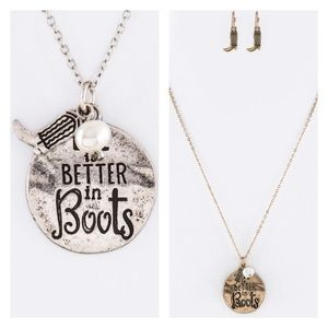 Silver Life is better in boots charm necklace set